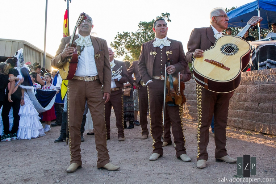 Members of Mariachi Buenaventura wait for their chance to play the official song of the Fiestas Santa Fe at the 89th burning of Zozobra.