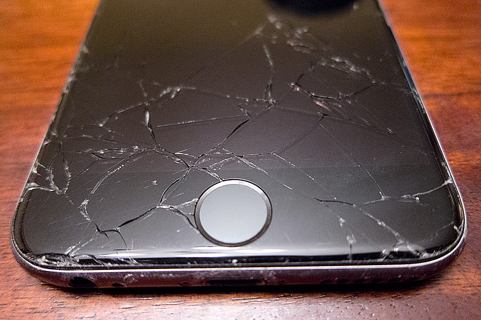 The damage to the phone done by yours truly.